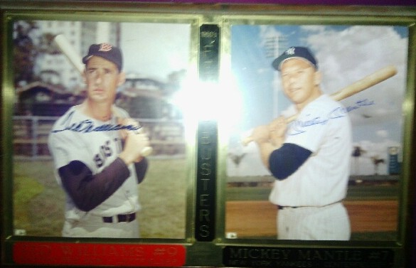 Wooden / plexiglass plaque with Mickey Mantle and Ted Williams photos and autographs